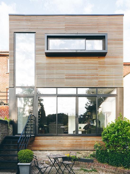 Extension maison avec bardage bois