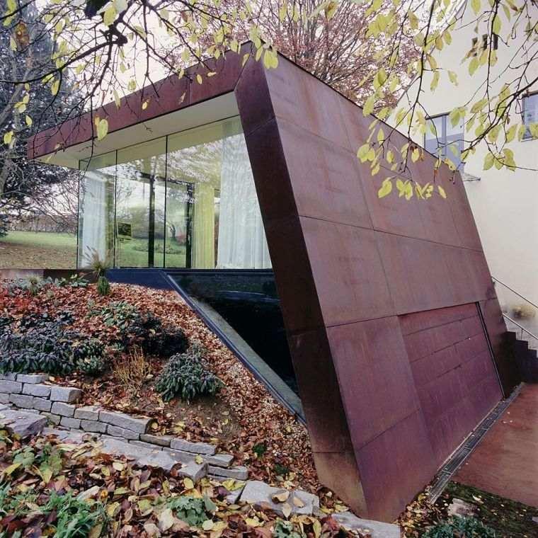Extension maison avec bardage en acier corten