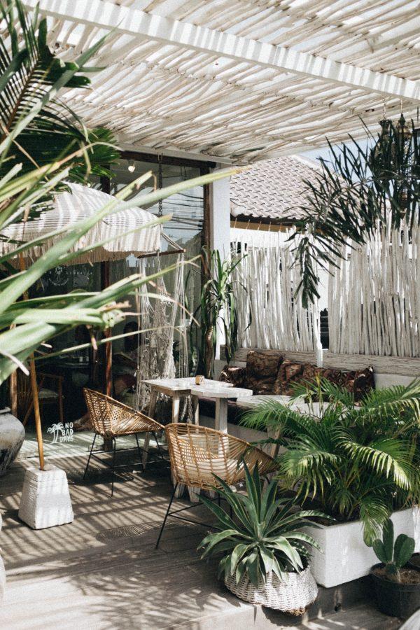 Petite terrasse en bois avec plantes vertes
