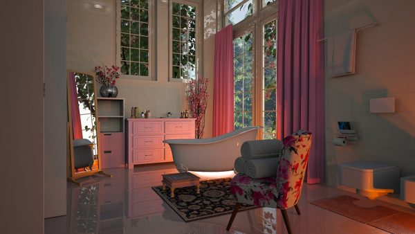 Salle de bain à la décoration féminine avec une ambiance boudoir